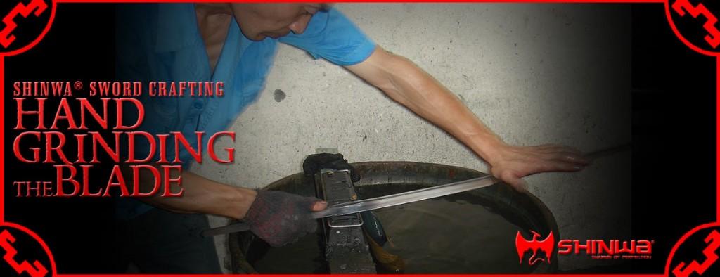 sharpening katana sword blade on wet stone